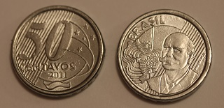 Moeda brasileira de cinquenta centavos