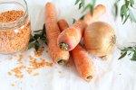 Velouté carottes et lentilles corail