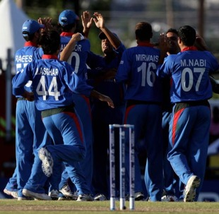 Afghanistan celebrate the early run-out of Loots Bosman, Afghanistan v South Africa, ICC World Twenty20, Bridgetown, May 5, 2010