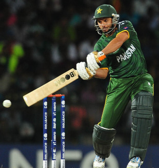 Shahid Afridi blasts one through the off side, India v Pakistan, Super Eights, World Twenty20, Colombo, September 30, 2012