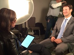 ESPN's Lisa Salters interviews Tony Romo.(Chris Wondoloski/ESPN)