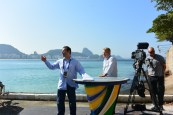 ESPN's World Cup set is located at Clube dos Marimbas boating club at the tip of Copacabana Beach in Rio de Janeiro. (Mike Soltys / ESPN)