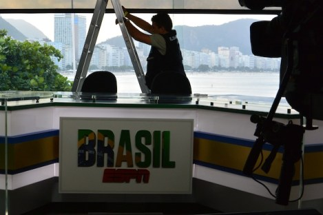 Final touches are made on ESPN's sets in Brazil. (Mike Soltys / ESPN)