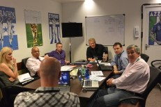 Inside a World Cup production meeting. (Mike Soltys / ESPN)