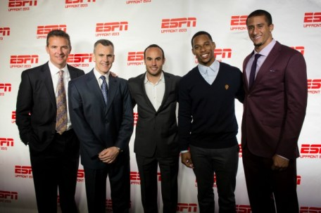 (L-R) Ohio State football coach Urban Meyer; Florida men's basketball coach Billy Donovan; Landon Donovan; New York Giants receiver Victor Cruz ; San Francisco 49ers quarterback Colin Kaepernick at the the 2013 ESPN Upfront in New York City. (Rich Arden/ESPN Images)