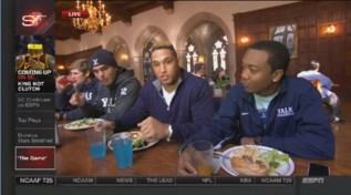 Sebastian Little at lunch with teammates (left) Anthony Morales (junior QB, Cromwell, Conn.) and (right) Jamal Locke (freshman CB, Ridgewood, NJ.) (ESPN)