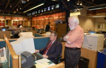 Bob Ley and John Walsh in the ESPN newsroom in 2002. (Rich Arden/ESPN Images)
