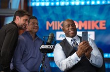 Magic Johnson joins Mike Greenberg (L) and Mike Golic on the set of Mike & Mike in Feb. 2015. (Rich Arden/ESPN Images)