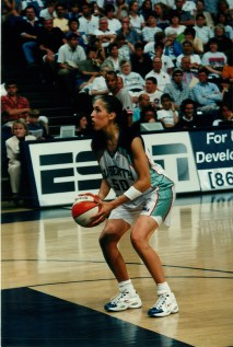 Rebecca Lobo playing for the New York Liberty in action during a game against the Cleveland Rockers in June of 1997. (Bob Stowell)