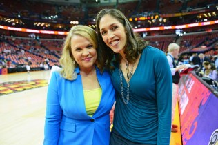 ESPN sideline reporter Holly Rowe (l) and Rebecca Lobo. (Phil Ellsworth/ESPN Images)