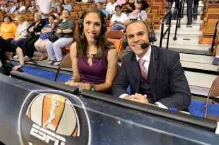 Rebecca Lobo and Ryan Ruocco during the 2013 WNBA All-Star Game. (Allen Kee/ESPN Images)