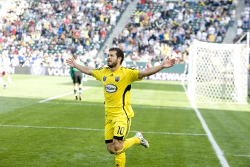 """Moreno celebrates during the Columbus Crew's 2008 MLS Cup victory. He says: """"The fans in Columbus have always shown great appreciation for me as a player and as a person."""" (Photo courtesy Columbus Crew SC)"""