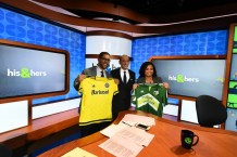 Michael Smith (l), Garber and Jemele Hill visit on the set of His & Hers. (Joe Faraoni/ESPN)