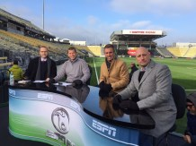 (L-R) Play-by-play commentator Adrian Healey, analysts Alejandro Moreno, Taylor Twellman and Kasey Keller prepare to report from MAPFRE Stadium in Columbus, Ohio. The host Columbus Crew meet the Portland Timbers for the title Sunday, 4 p.m. ET on ESPN. (Chris Wondoloski/ESPN)