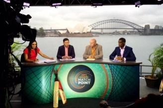 MatchPoint commentators and former cricketers Isa Guha (England), Ajit Agarkar (India), Martin Crowe, cousin of actor Russell Crowe (New Zealand), and Michael Holding (West Indies) live from Australia during the ICC Cricket World Cup.
