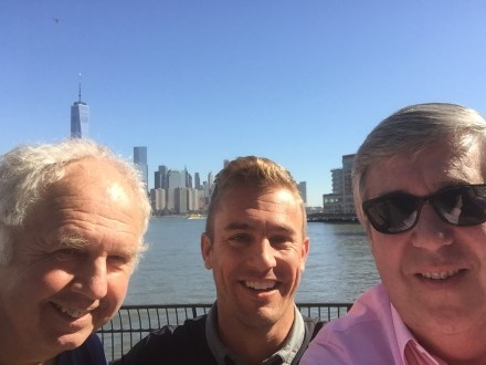The three amigos - (L-R) Ian Darke, Taylor Twellman and Bob Ley - share a moment together away from their roles as ESPN's leading soccer personalities. (Photo courtesy of Bob Ley)