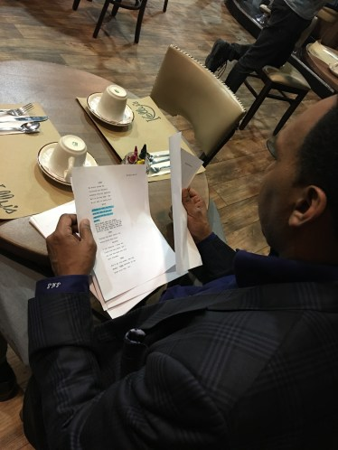"""Smith reviews his script on the set of """"General Hospital."""" (Marcus Matthews/ESPN)"""