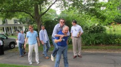 Steve McManaman hitching a ride on Ian Darke's back en-route to dinner with fellow commentators during the 2013 FIFA Confederations Cup. (Photo courtesy of Bob Ley)