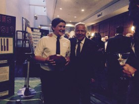 "Ben Goodell (l), subject of the E:60 feature regarding his ""Deflategate"" science project, meets New England Patriots owner Robert Kraft at a fundraiser. (E:60)"