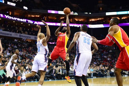 James Harden, seen here shooting the ball in 2014 action, is one of the NBA's most dynamic players. (Phil Ellsworth/ESPN Images)