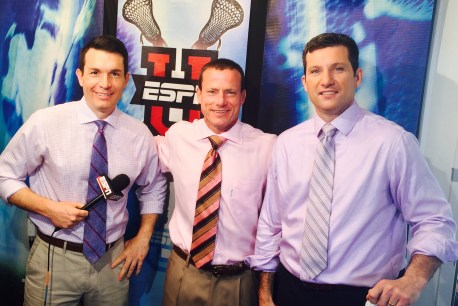 (L-R) Paul Carcaterra, Quint Kessenich and Eamon McAnaney lead ESPN's college lacrosse coverage. (Photo courtesy of Quint Kessenich)