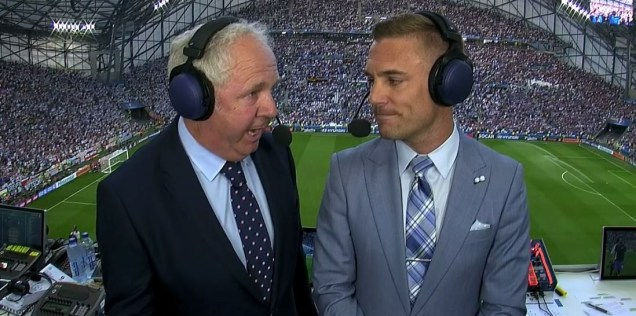 Ian Darke (left) with Twellman during the France v. Germany semifinal.