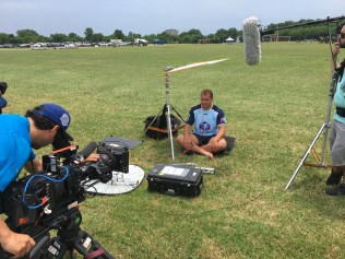 A rugby player from Australia is interviewed at the Bingham Cup competition in Nashville, Tenn. (Ben Webber/ESPN)