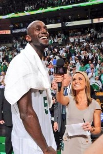 Molly McGrath interviews Kevin Garnett during her time as a Celtics reporter. (Photo courtesy of Molly McGrath)