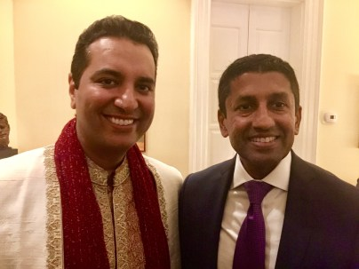 Kevin Negandhi (L) and Sri Srinivasan, a U.S.Circuit Judge of the US Court of Appeals for the District of Columbia. He's also a big Kansas Jayhawks fan. (Photo courtesy of Kevin Negandhi)