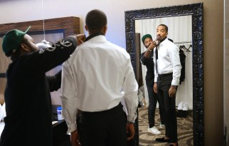 Cleveland Cavs star J.R. Smith (white shirt) gets ready for his closeup. (Michael McElroy for ESPN)