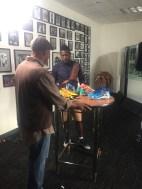 ESPN's Jim Trotter interviews Steelers receiver Antonio Brown. (Dominique Goodridge/ESPN)