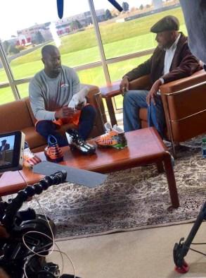 ESPN NFL reporter Jim Trotter (R) interviews Denver Broncos linebacker Von Miller. (Dominique Goodridge/ESPN)