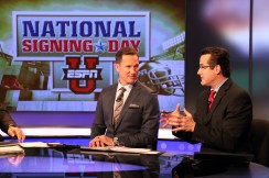 Tom Luginbill (R), seen with fellow ESPN football analyst Danny Kanell here, will be seen throughout ESPN's 2017 National Signing Day coverage Wednesday. (Travis Bell/ESPN Images)