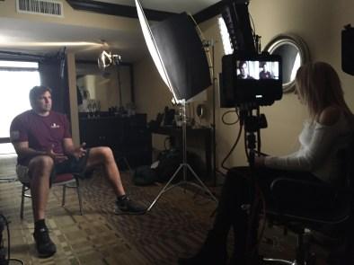 ESPN's Ashley Fox (R) interviews Alejandro Villanueva. (Scott Harves/ESPN)