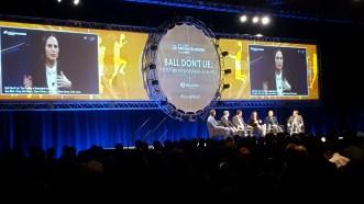 The Future of Basketball Analytics featured ESPN's Zach Lowe (far right). (Tiffany Doolittle/ESPN)