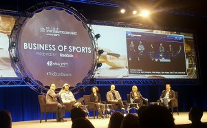The Business of Sports Panel featured ESPN's Marie Donoghue (third from left) and Darren Rovell (far left). (Tiffany Doolittle/ESPN)