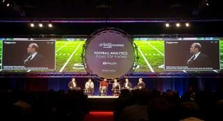 ESPN's Bill Barnwell (L) moderated the Football Analytics Panel. (Tiffany Doolittle/ESPN)