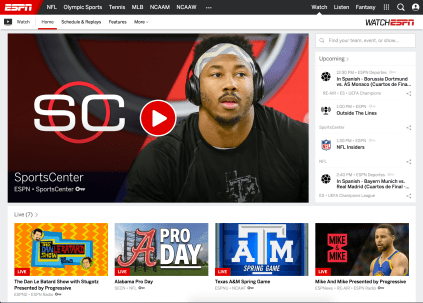 The WatchESPN web redesign makes it easier than ever to search for live events, on-demand content and more.
