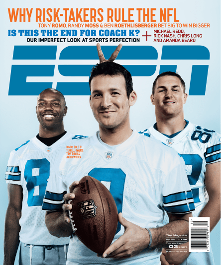 Tony Romo (center) with Terrell Owens (left) and Jason Witten (right) on the cover of an issue of ESPN the Magazine from December 3, 2007.