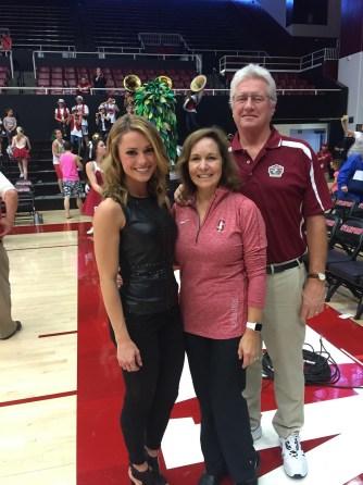 Molly McGrath (L) poses with parents Deborah and Mike. (Photo courtesy Molly McGrath/ESPN)