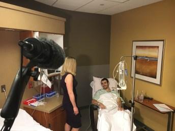Reporter Paula Lavigne interviews former IU football player Nick Carovillano. (Willie Weinbaum/ESPN)
