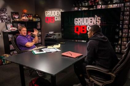 Jon Gruden interviews Clemson's Deshaun Watson during Gruden QB Camp. (Heather Harvey/ESPN Images)