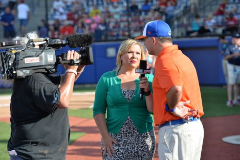 Holly Rowe reports during the 2014 Women's College World Series. (Scott Clarke/ESPN Images)