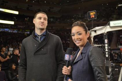 ESPN's Cassidy Hubbarth (R) interviews Golden State Warriors star Klay Thompson. (Lorenzo Bevilaqua/ESPN Images)