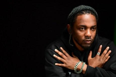 Music superstar Kendrick Lamar posed for ESPN's 2017 NBA Playoffs production shoot. (Scott Clarke/ESPN Images)