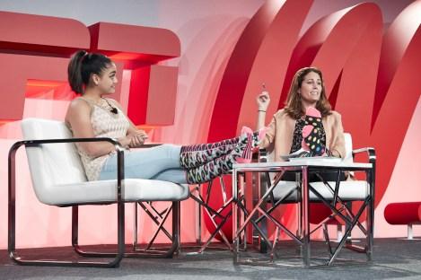 Julie Foudy (R) interviews Laurie Hernandez during the espnW: Women + Sports Summit, Chicago. (Randy Klein/ESPN Images)