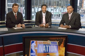 From 2006, in the ABC Studios: (L-R) Dan Patrick, Scottie Pippen and Mark Jackson report for NBA Nation.(Lorenzo Bevilaqua/ ESPN Images)