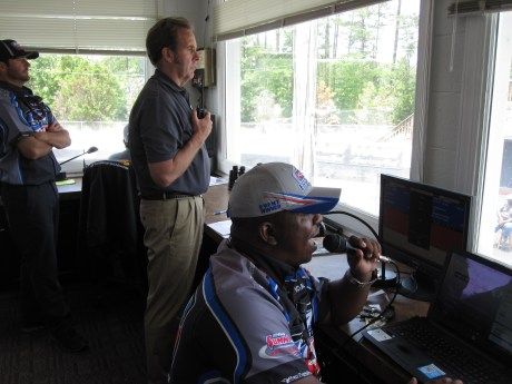 IHRA president Mike Dunn (standing) and announcer Fabian Brown at work during a telecast of the IHRA Summit Sportsman Series on ESPN3. (Andy Hall/ESPN)