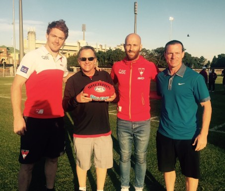 Sydney Swans Aussie Rules player Gary Rohan, Steve Turnberger, Quint Kessenich & Jarred McVeigh (also of the Sydney Swans). (Photo courtesy of Quint Kessenich)