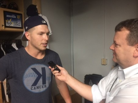 Olney interviews Rays slugger Corey Dickerson. (Dave Shore/ESPN)